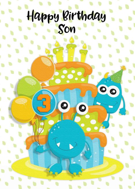 Happy 3rd Birthday To Son Birthday Cake And Monsters Card Ad Spon Son Birthday Happy Card