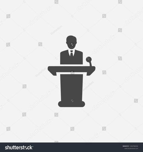 Conference Lecturer Icon Concept Man Giving Business Speech Icon Person Giving Public Speech With Microphone Vector Concept Vector Illustration Illustration