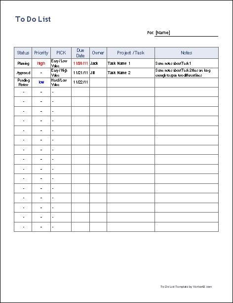 Free To Do List Template Free Customizable Spreadsheet For