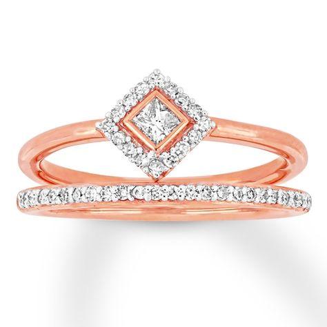 Deconstructed Diamond Ring 1 3 Carat Tw 10k Rose Gold 3 Carat Fashion Rings Metal Jewelry
