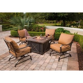 Shop For Hanover Outdoor Summer Nights 5 Piece Fire Pit Lounge Set Get Free Delivery At Overstock Your On Fire Pit Sets Outdoor Fire Pit Fire Pit Essentials