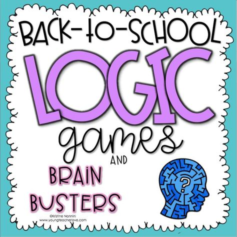 Back to School and Beginning of the Year Logic Games and Brain Busters I created these logic and brain games as a fun activity to give to your students at the start of the year (or anytime for enrichment.) The games are back-to-school-themed and ask your 6th Grade Activities, First Day Of School Activities, First Day School, Beginning Of The School Year, Kindergarten Worksheets, Middle School, Critical Thinking Activities, Critical Thinking Skills, Tao Te Ching