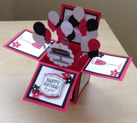 Handmade Card in a box/ unique birthday greeting card/box card/ 3D greeting…