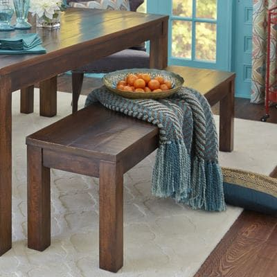 Parsons Tobacco Brown Dining Bench With Images Dining Bench Dining Table With Bench Colored Dining Chairs
