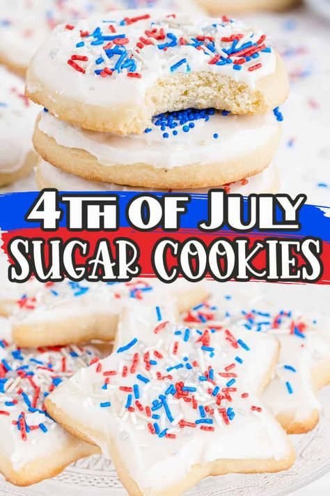 These 4th of July Sugar Cookies are the perfect dessert to add to your holiday celebrations! They are soft and chewy, frosted sugar cookies, complete with patriotic red, white, and blue sprinkles.
