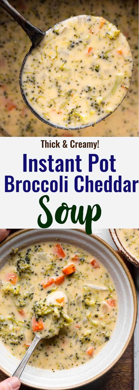 Cheesy and creamy Instant Pot Broccoli Cheddar Soup is so quick and easy! Packed with veggies and flavor, it makes for a great family meal! | #FoodFaithFitness | #broccolicheddarsoup #instantpot #instantpotsoup #quickandeasy #weeknightdinner