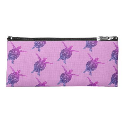 Sea Turtles Tortoise Swimming Purple Blue Pencil Case Zazzle Com Blue And Purple Sea Turtle Pencil Case