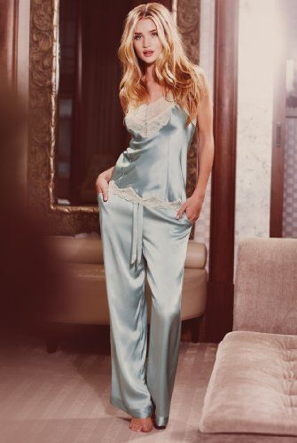 Rosie Huntington-Whiteley wearing Rosie For Autograph Pure Silk Lace Camisole and Rosie For Autograph Pure Silk Pyjama Bottoms.