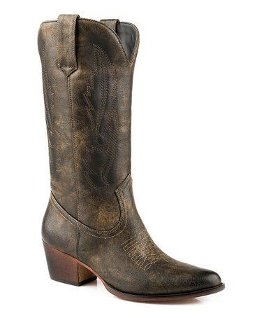 f3f87966a3f Another great find on #zulily! Brown Distressed Cowboy Boot - Women ...