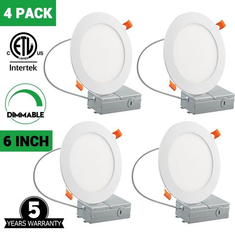 6 Inch Slim Led Downlight Dimmable 12w 100w Equivalent 5000k Daylight White 950lm Etl Listed With Images Led Recessed Lighting Led Ceiling Lights Recessed Lighting