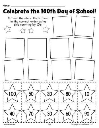 Free Printable 100th Day Of School Skip Counting By 10 S Worksheet 100 Day Of School Project 100 Days Of School Counting By 10