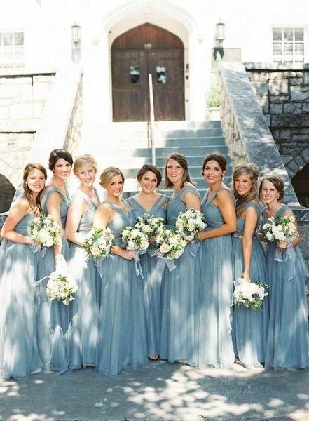 A-line Floor-length Long Tulle Cheap Bridesmaid Dresses,