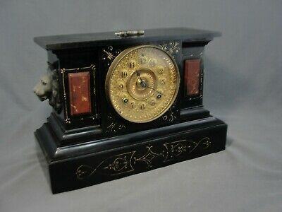 Ebay Ad Link Antique Iron Ansonia Mantel Clock Black Enamel Faux Marble Lions Ornate 1862 Antique Iron Ansonia Clock Faux Marble Paint