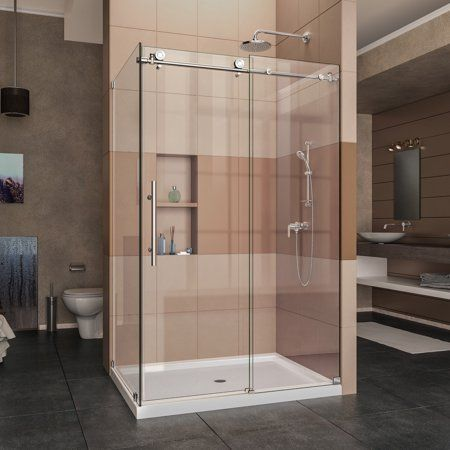 Dreamline Enigma X 32 1 2 In D X 48 3 8 In W X 76 In H Fully Frameless Sliding Shower Enclosure In Polished Stainless Steel Size 32 5 Inch X 44 38 Inch 48 38