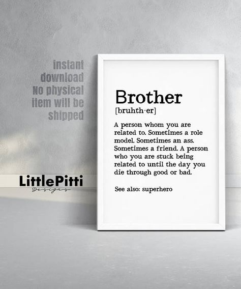 Brother Gift Ideas Print Definition Big Birthday For Instant Download