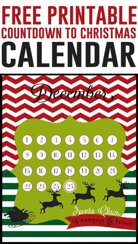 FREE printable countdown calendar to Christmas by LollyJane.com