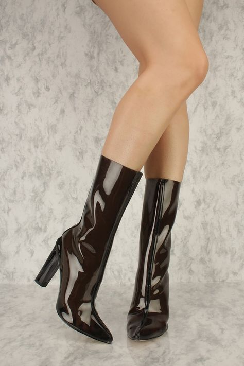 Black Jelly Pointy Toe Round Colored High Heel Ami ClubWear Boots