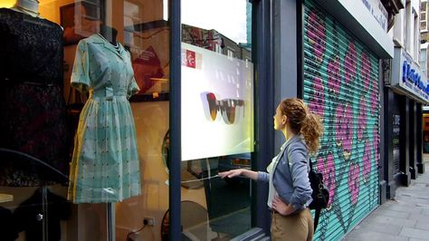 This projected window display allows the user to navigate through a catalogue of products without touching the screen.  More complex programs could include apps,…