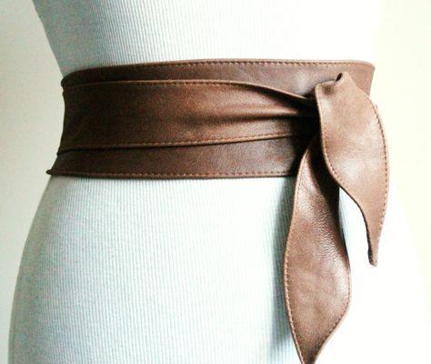 67de2a1ab Distressed Brown Leather Obi Belt tulip tie