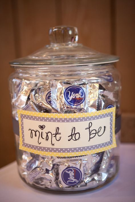 """mint to be"" on a jar of York peppermint patties for wedding guests to enjoy - thereddirtbride.com - see more of this wedding here"
