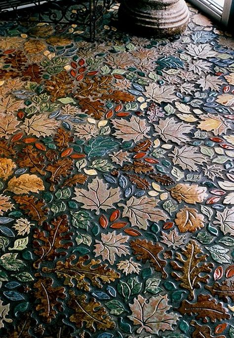 Leaf Mosaic Tile by MacMillan Amies Studio. This is not concrete, it's tiles in a custom layout for each installation. But it's still lovely. I am imagining paving a path with similar tiles. Mosaic Art, Mosaic Glass, Mosaic Tiles, Tiling, Mosaic Floors, Ceramic Tile Art, Wall Tiles, Pebble Mosaic, Cement Tiles