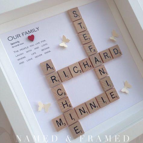 Family frame, scrabble frame, scrabble wall art, personalised gift, scrabble tiles, birthday gift, handmade gift, home decor