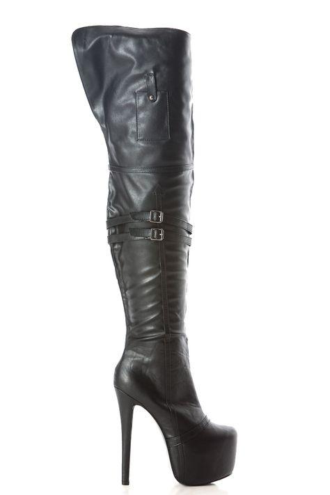 d73c594d409 Black Faux Leather Thigh High Platform Heels   Cicihot Boots Catalog women s  winter boots