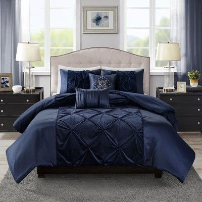 5pc Queen Sondra Velvet Comforter Set Navy Blue Comforter Sets