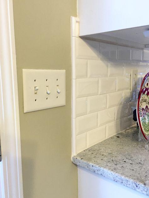 White Liner Backsplash Beveled Subway Tile Edge   Colonial White Granite    White Kitchen