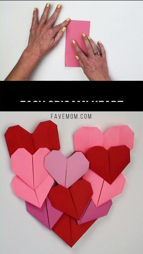 Make this simple to fold easy origami heart.  Withone square paper you can fold 2 hearts with the video tutorial and instructions.  This is a simple activity for even a young kid.  #origami #origamiheart #easyorigami