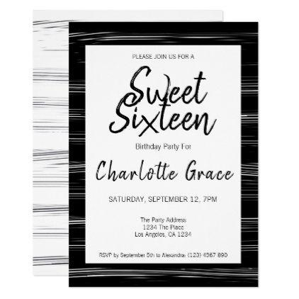 Sweet Sixteen Modern Simple Birthday Party Invitation
