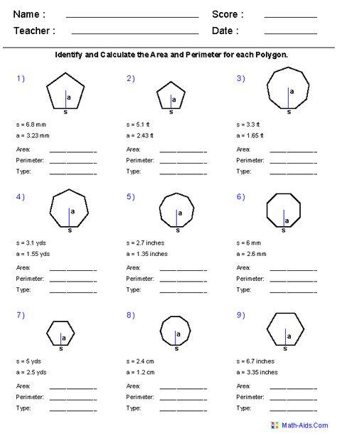 math worksheet : geometry worksheets  area and perimeter worksheets  math  : Areas Of Regular Polygons Worksheet