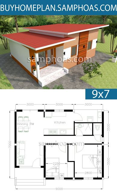 Home Design 9x7m 2 Bedrooms House Plan Map House Plans House Plan Gallery Small House Design Plans