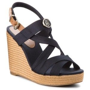 Espadryle Tommy Hilfiger Iconic Elena Sandal Hardware Fw0fw02793 Midnight 403 Shoes Sandals Wedges