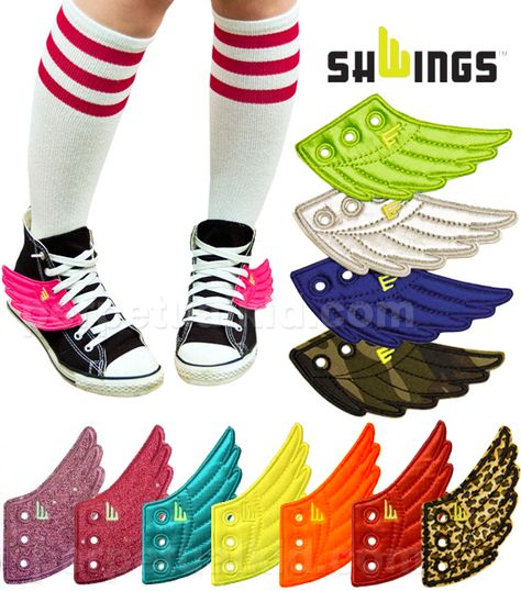 Lace Onto Any Shoes Sneakers Black Foil Wings SHWINGS Shoe Accessory Charm