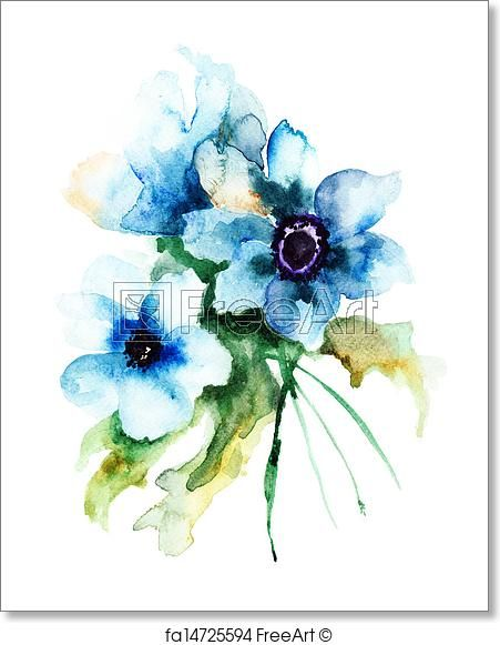 Free Art Print Of Summer Blue Flowers In 2020 Watercolor Flowers