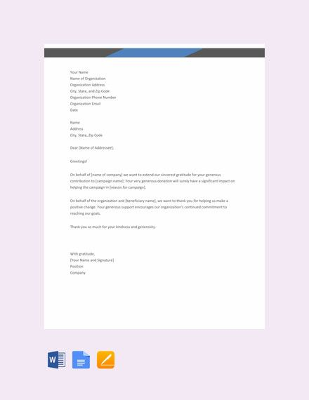 Free Thank You Letter For Donation Template Thank You Letter