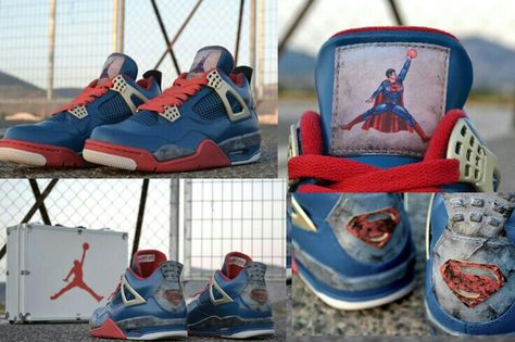 e75d9458a9661e Custom Superman Air Jordan 4 Retro