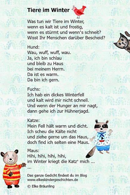 Tiere Im Winter Elkes Kindergeschichten Wintergedichte Fur Kinder Tiergedichte Geschichten Fur Kinder