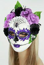 Dia de los Muertos Full Sugar Skull Mask Halloween Costume Spider Purple Flower