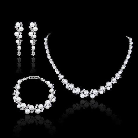 Spiksplinternieuw White/Ivory Pearl Swarovski Crystal Necklace Earring Bracelet Set OU-72