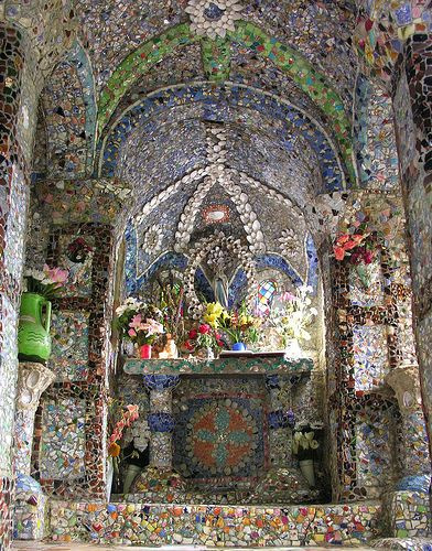 Little Chapel pique assiette mosaic interior - on the island of Guernsey