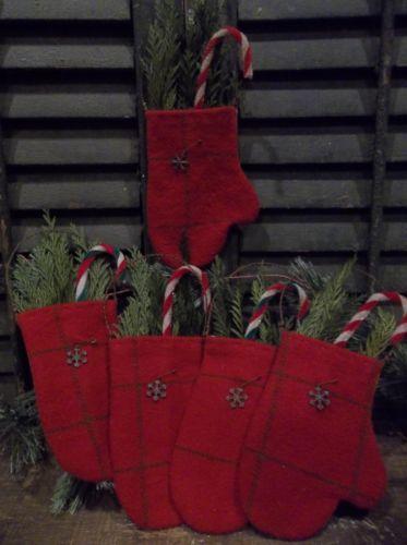 """Warm Woolen Mittens"" Primitive Handmade Wool Mitten Ornaments Bowl Fillers | eBay"