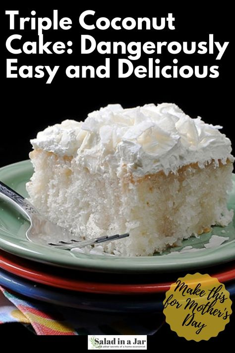 Amie's Triple Coconut Cake: Dangerously Easy and Delicious Made with a cake mix and frozen whipped topping. Super easy and dangerously delicious. Kokos Desserts, Coconut Desserts, Coconut Recipes, Köstliche Desserts, Delicious Desserts, Dessert Recipes, Coconut Cake Easy, Coconut Sheet Cakes, Best Coconut Cake Recipe