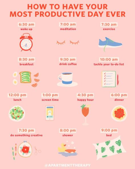 This productivity guide and schedule is the best way to be your most productive self. These tips will lead you to your most productive morning, afternoon and night routine to motivate and keep you focused.