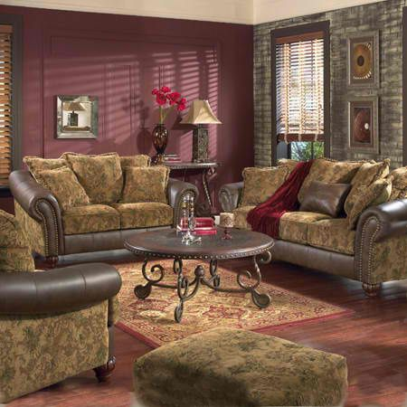 Caramel color casual traditional sofa set couch fabric living room