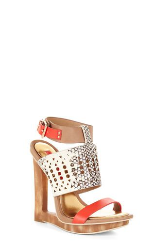 Meteur Cutout Wooden-Wedge Sandal from BCBG