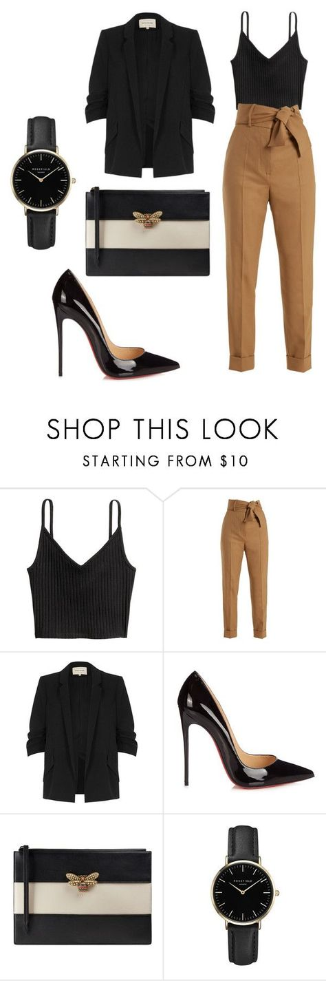 hell to the no by mar-01 on Polyvore featuring moda, Sara Battaglia, River Island, Christian Louboutin, Gucci y ROSEFIELD