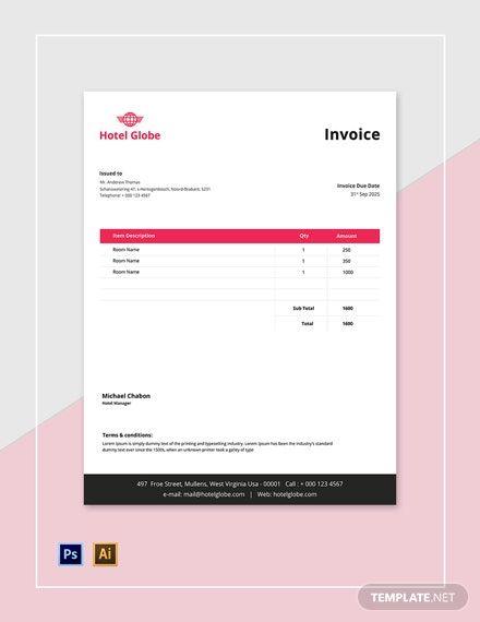 Modern Hotel Invoice Template Free Pdf Psd Illustrator Invoice Template Invoice Design Template Invoice Design