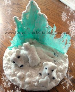 Fondant Caketopper Icebear Decoration Mother And Kids On Sugarsnow For Any Cake One Chooses Eis Eisbar Schokolade